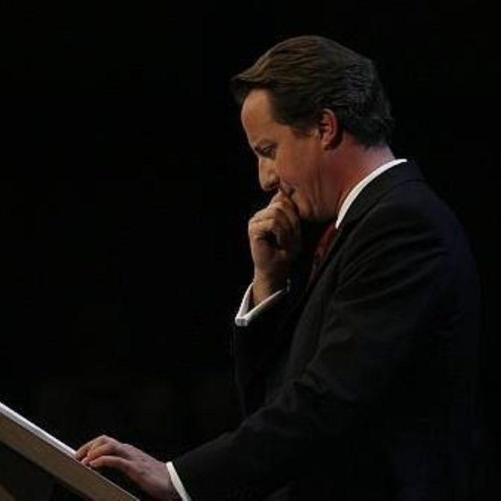 Tough day: Cameron struggled in a bruising PMQs.