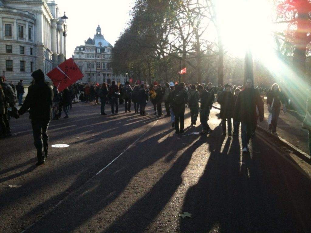 Student protestors march through London last year: The anger against tuition fees has played into the campaign against the New College of Humanities (NCH).