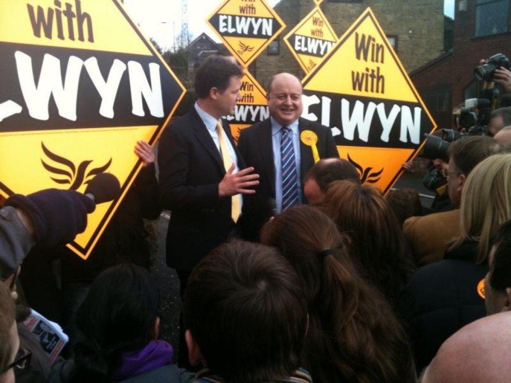 Nick Clegg campaigns with Elwyn Watkins in Grotton earlier this week
