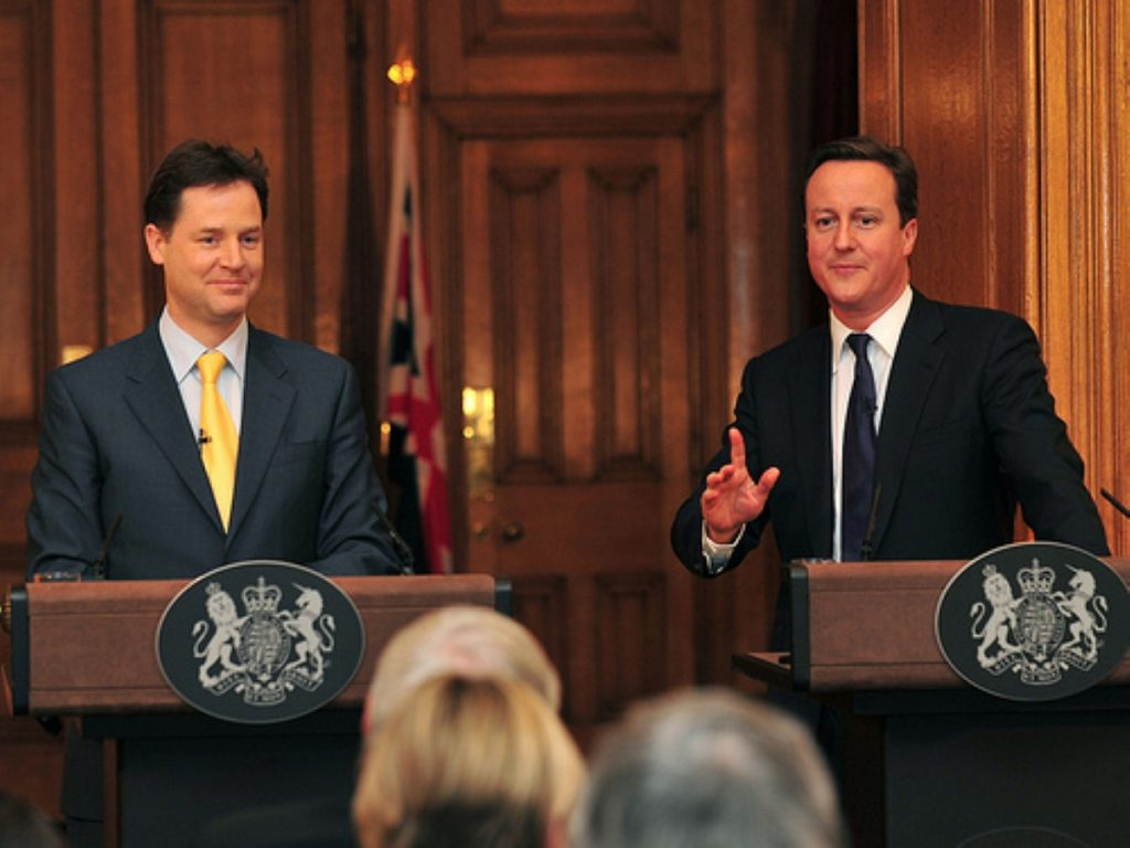 A rare event, these days: David Cameron and Nick Clegg hold a press conference, for real journalists