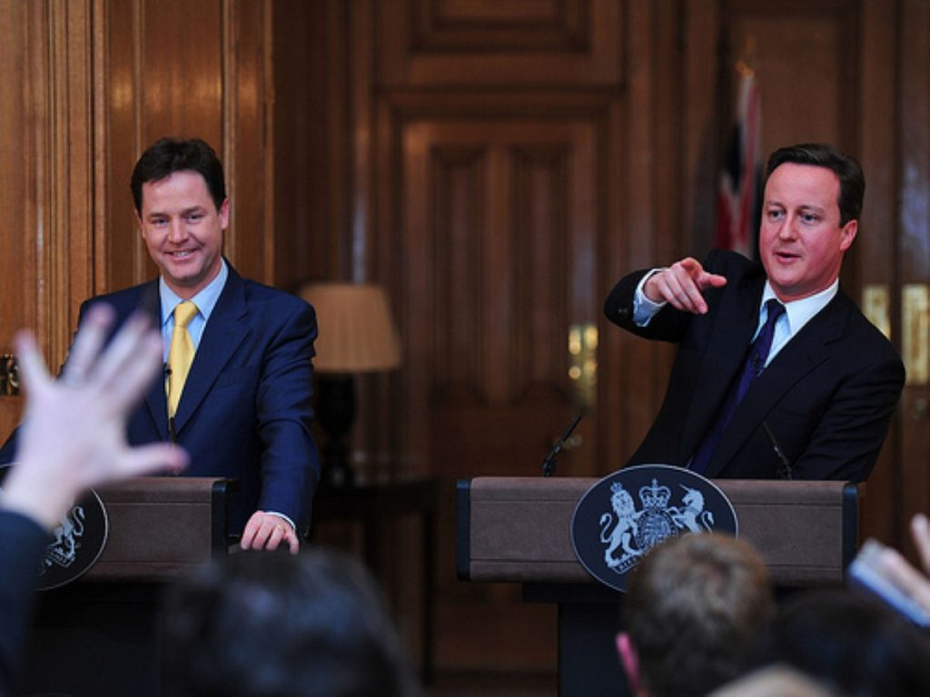 Coalition tension? Cameron questions national interest of coalition.