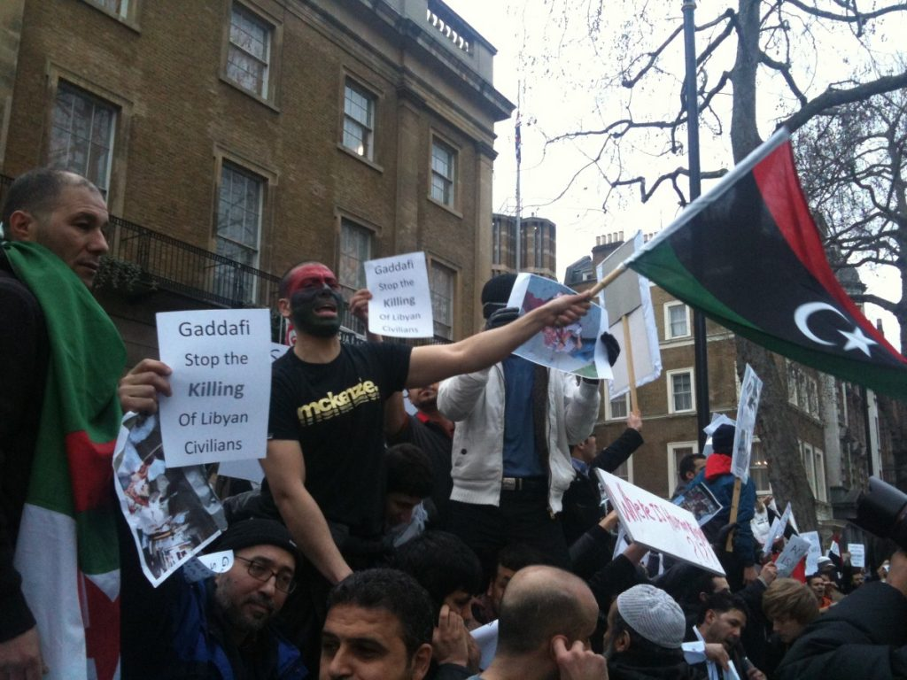 Libya protesters in London, where the rebel embassy reopens today