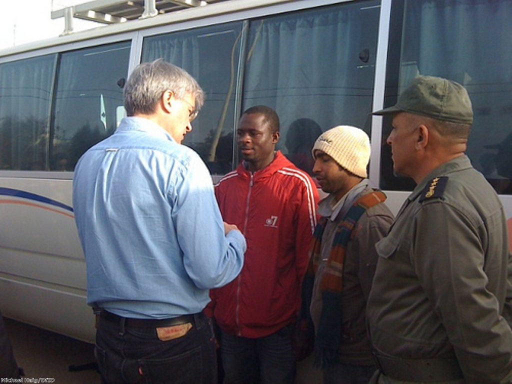 Andrew Mitchell is visiting the refugee camps on the Libya-Tunisian border. Photo: Michael Haig/DfID
