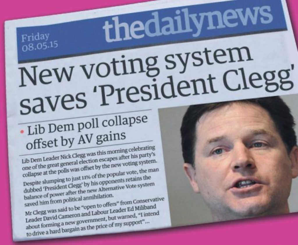 No2AV poster imagines the news after the 2015 general election