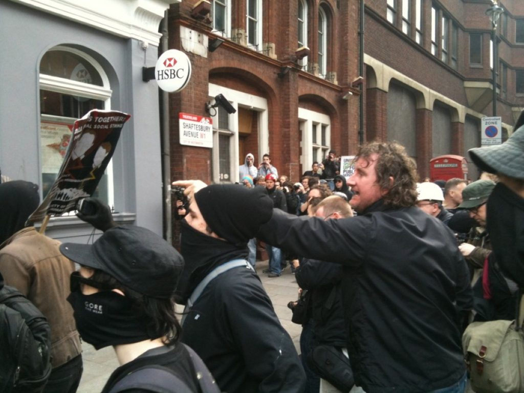 An HSBC branch comes under attack from anarchists