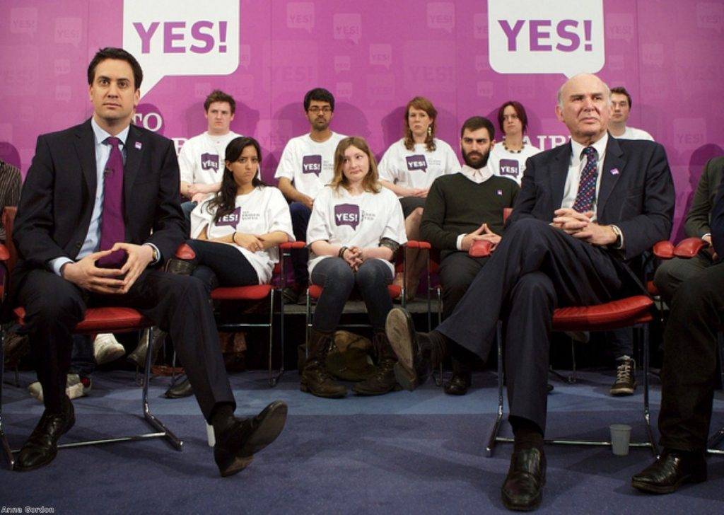 Miliband refused to share a platform with Clegg