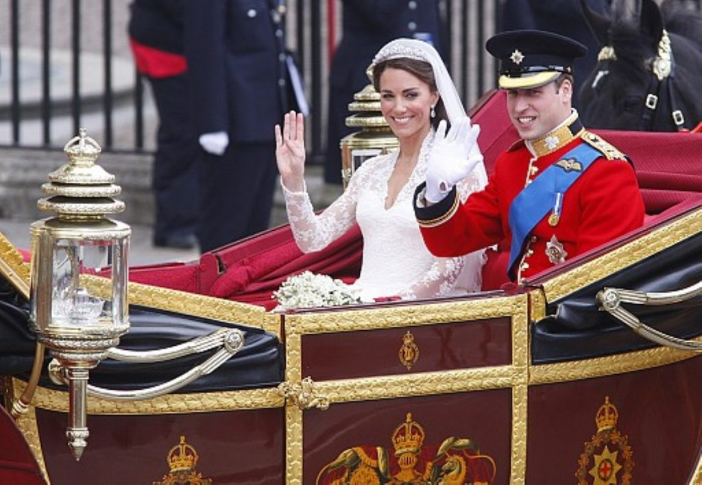 The Duke and Duchess of Cambridge greet crowds in London