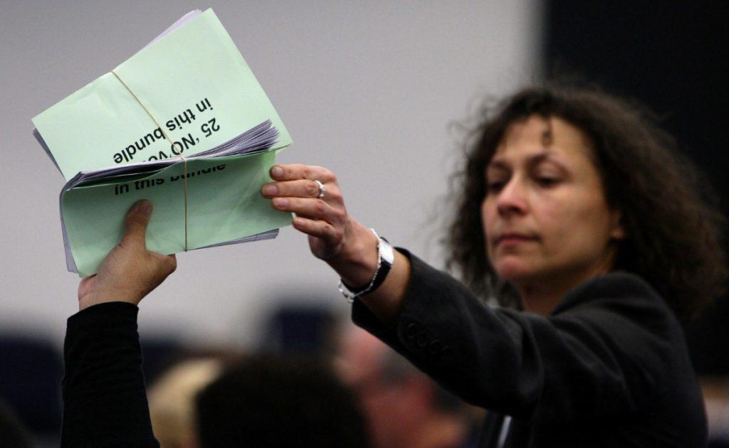 Ballot papers for AV referendum are handled at Manchester Central.