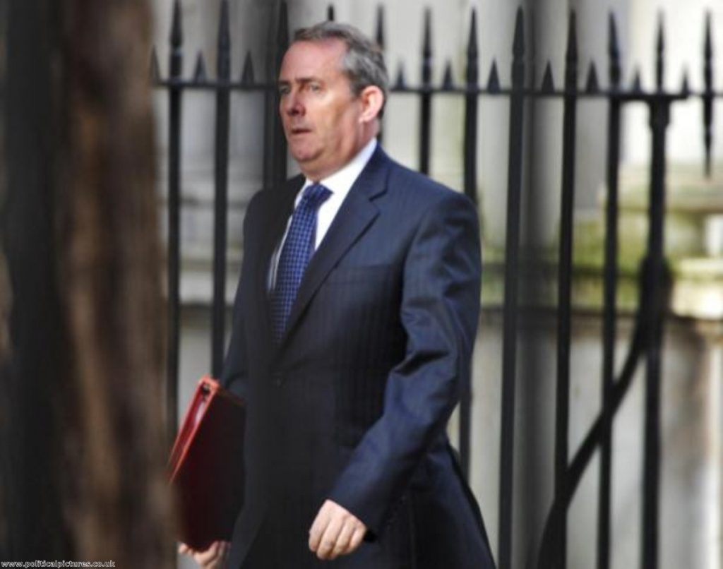 Liam Fox digs in against UK's commitment to increase aid. Photo: www.politicalpictures.co.uk