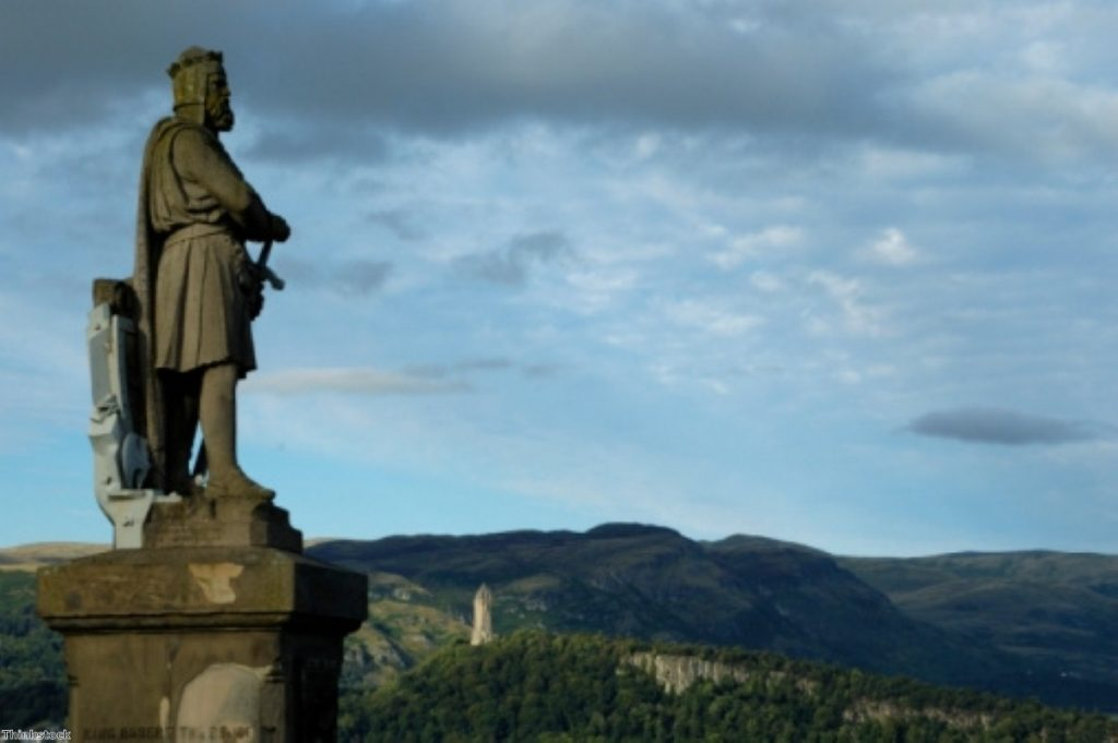 Scotland's king gazes over the countryside. The SNP has been caught-up by controversy over EU membership after independence.