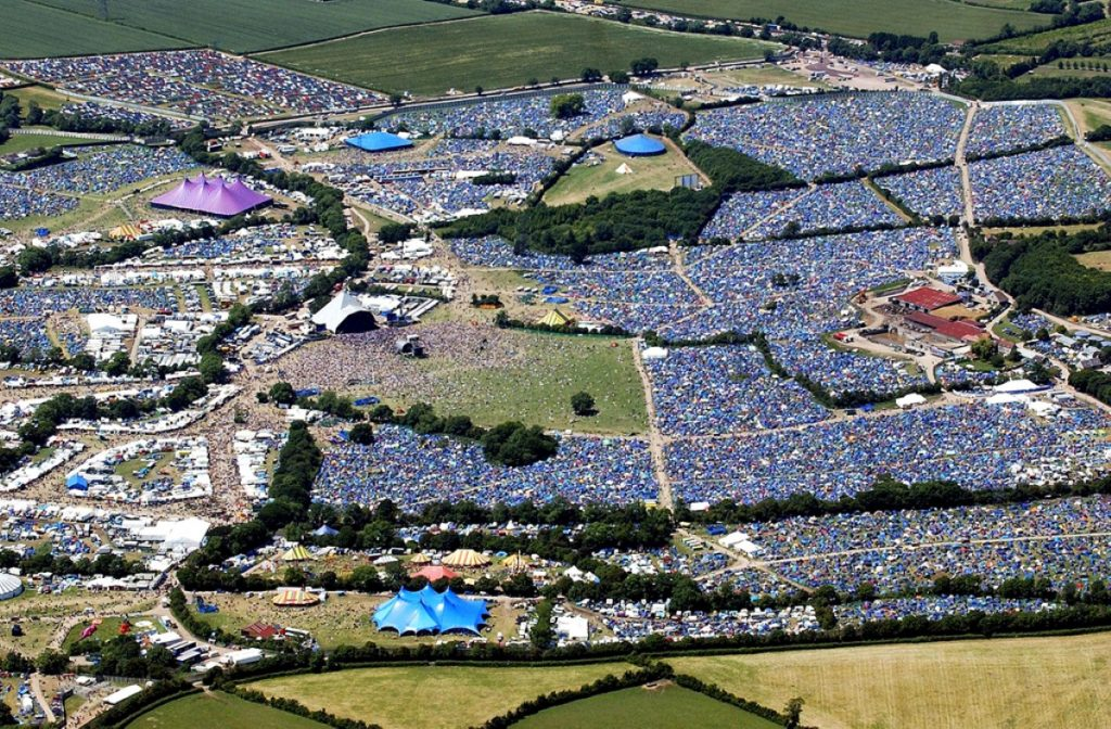 An aerial view of Glastonbury festival, where senior Tory Christopher Shale was found dead this morning