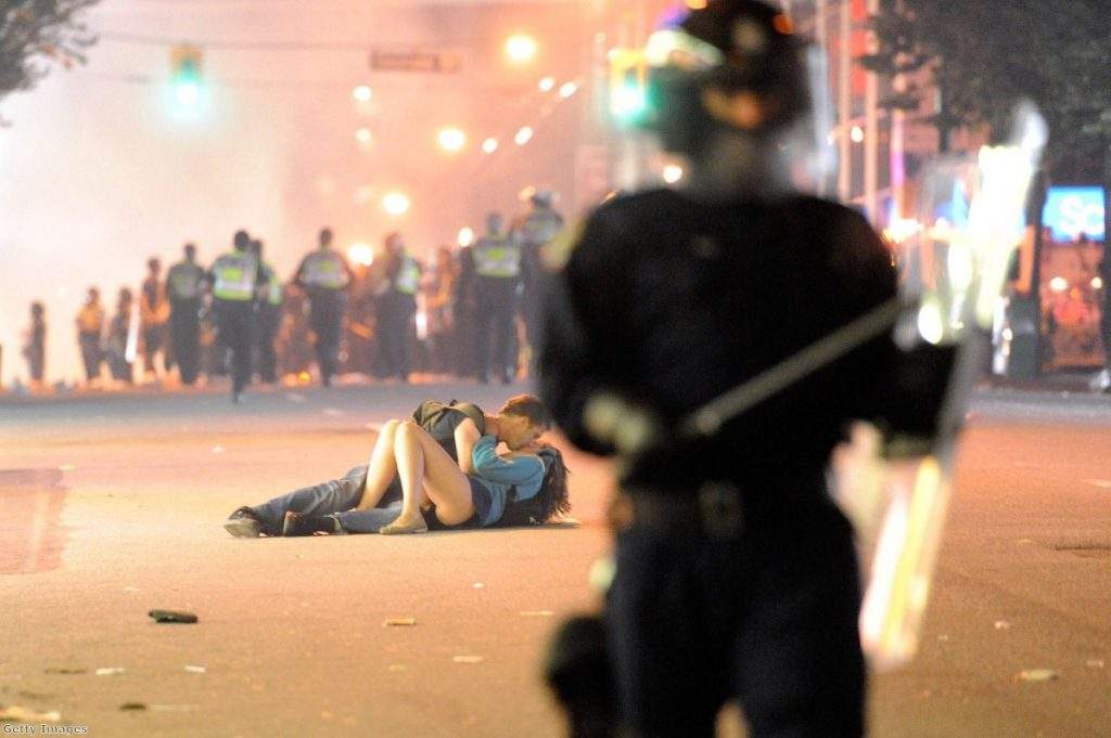 This picture, of a couple kissing during a riot in Vancouver, became one of the most iconic images of the year.