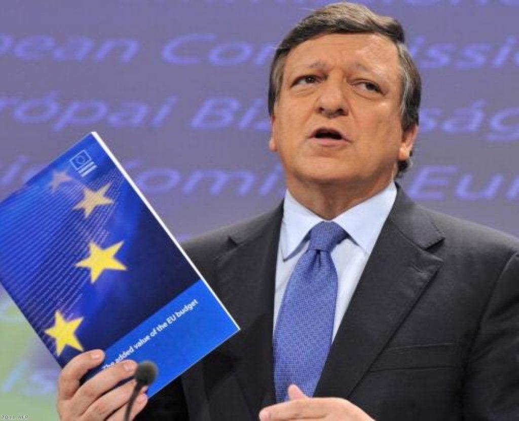 European Commission president Jose Manuel Barroso presents the EU budget