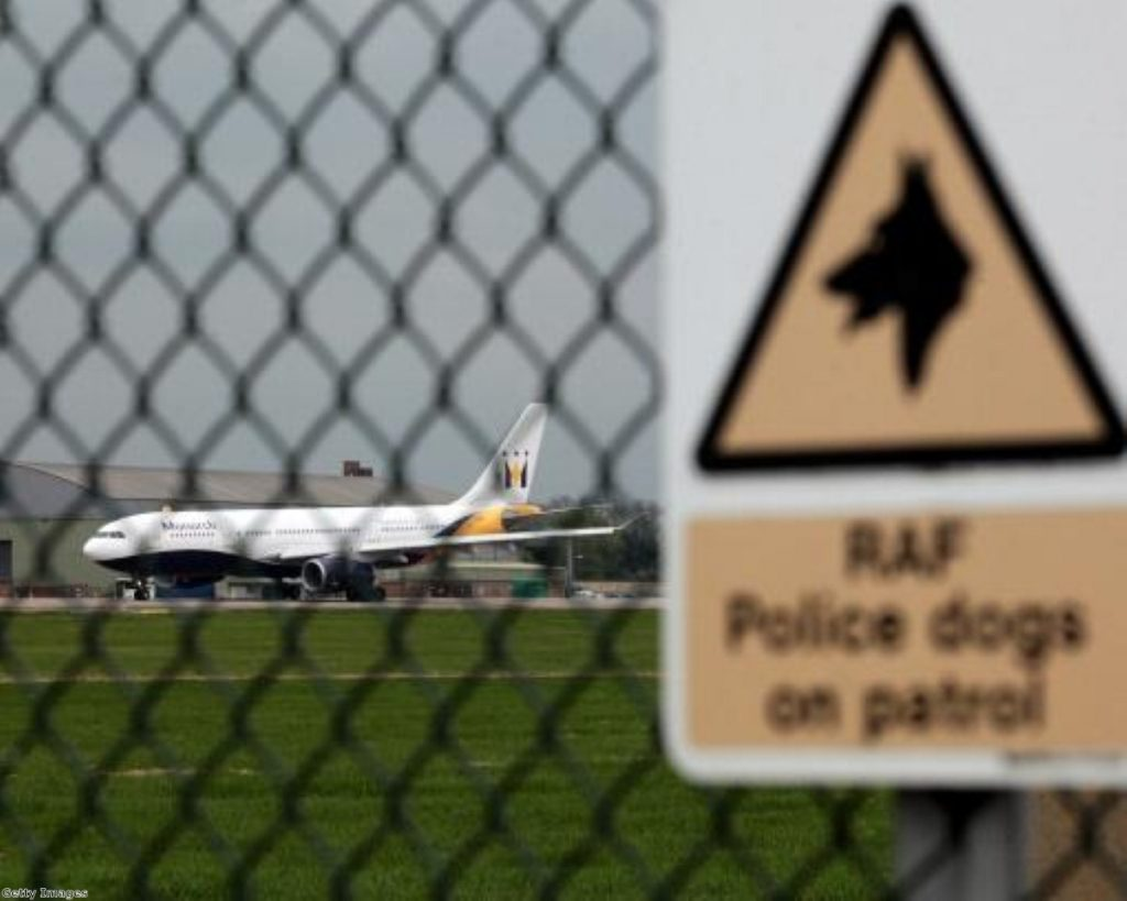 An aicraft lands at RAF Brize Norton, where repatriation ceremonies will switch to in September