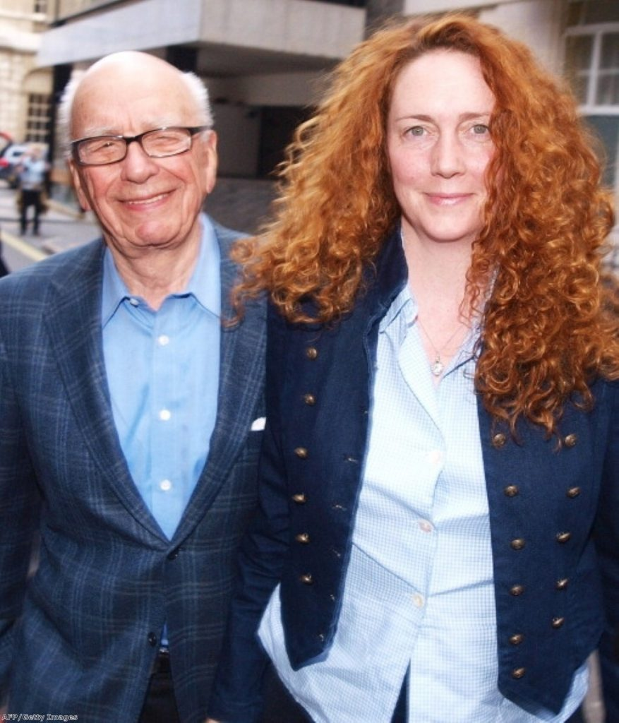 Rupert Murdoch with Rebekah Brooks, after he flew to the UK to take control of the crisis. Photo: Getty