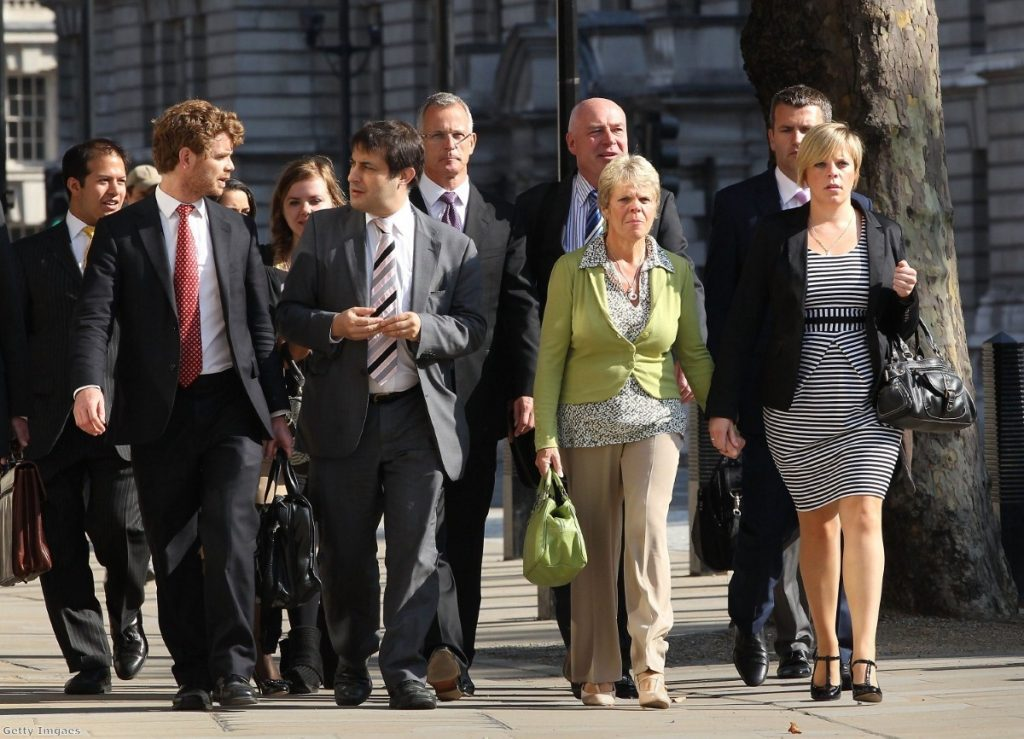 The Dowler family head to their meeting with Nick Clegg, accompanied by former police commander Brian Paddick and former Lib Dem MP Evan Harris.Photo: Getty Images