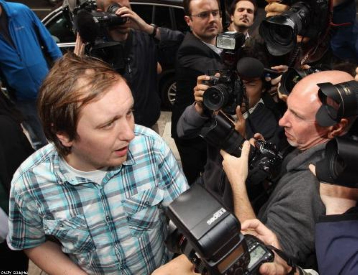 'Jonnie Marbles' arrives at Westminster Magistrates Court. Photo: Getty Images