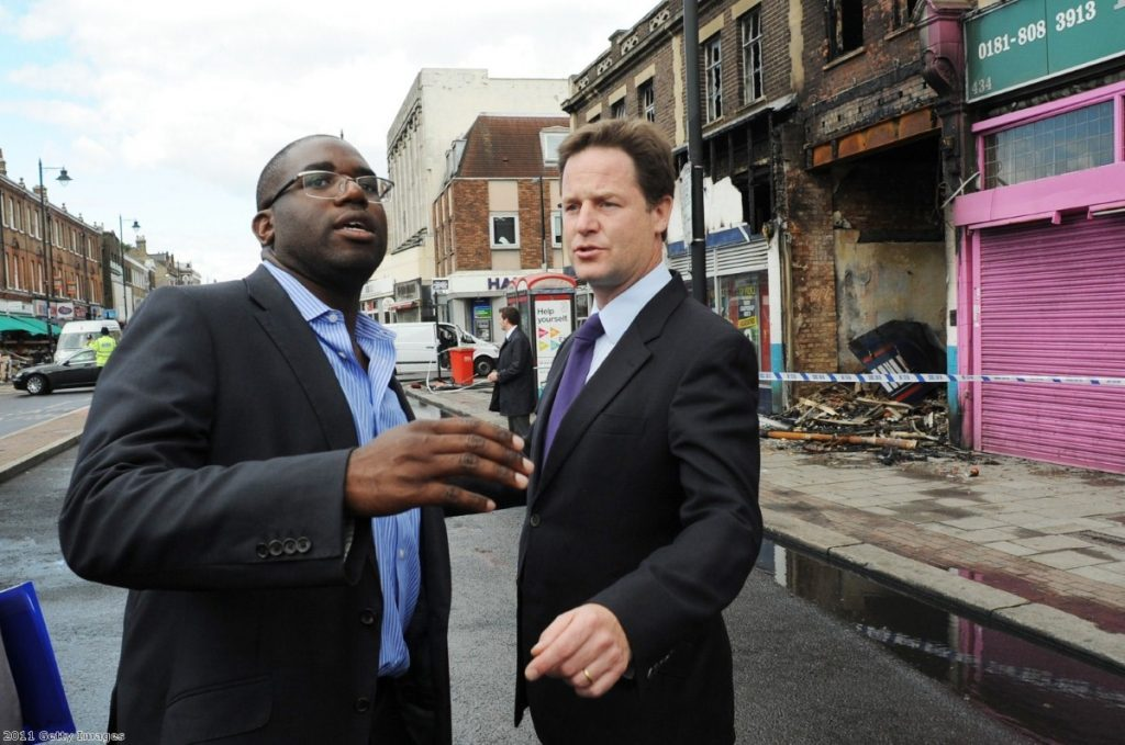 David Lammy talks to Nick Clegg after a night of rioting in Tottenham.
