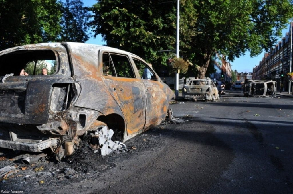 Burned-out cars after last week's looting