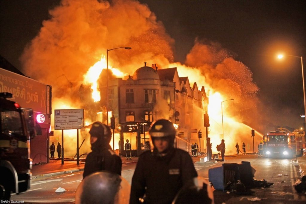 Fire at a shop in Croydon during riots. Photo:Getty Images