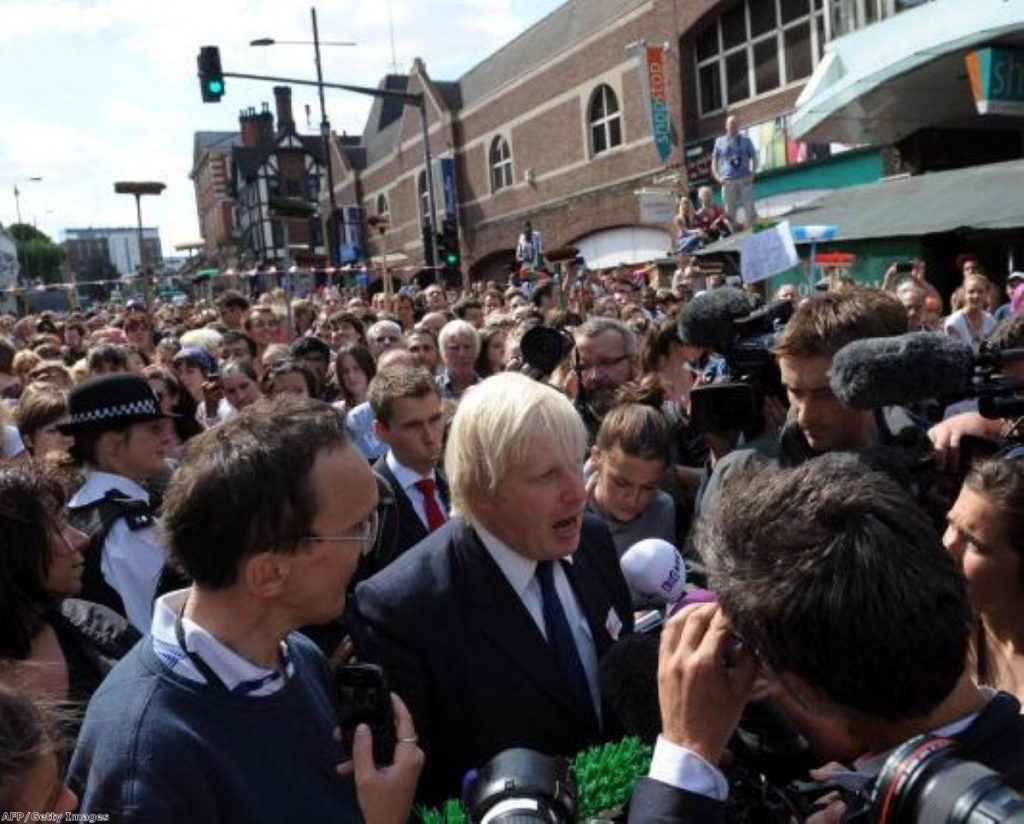 Boris was unable to talk to residents because of the anger directed at him today.