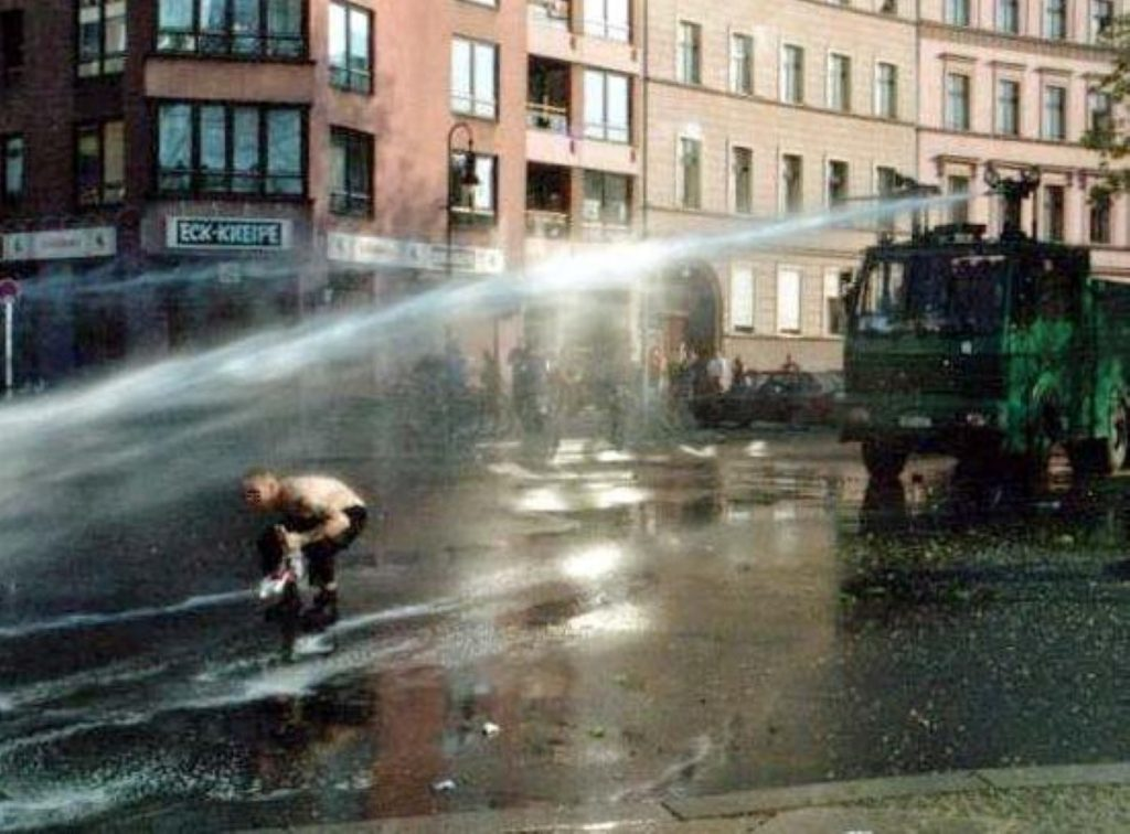 Water cannons are often used in mainland Europe but never on British streets