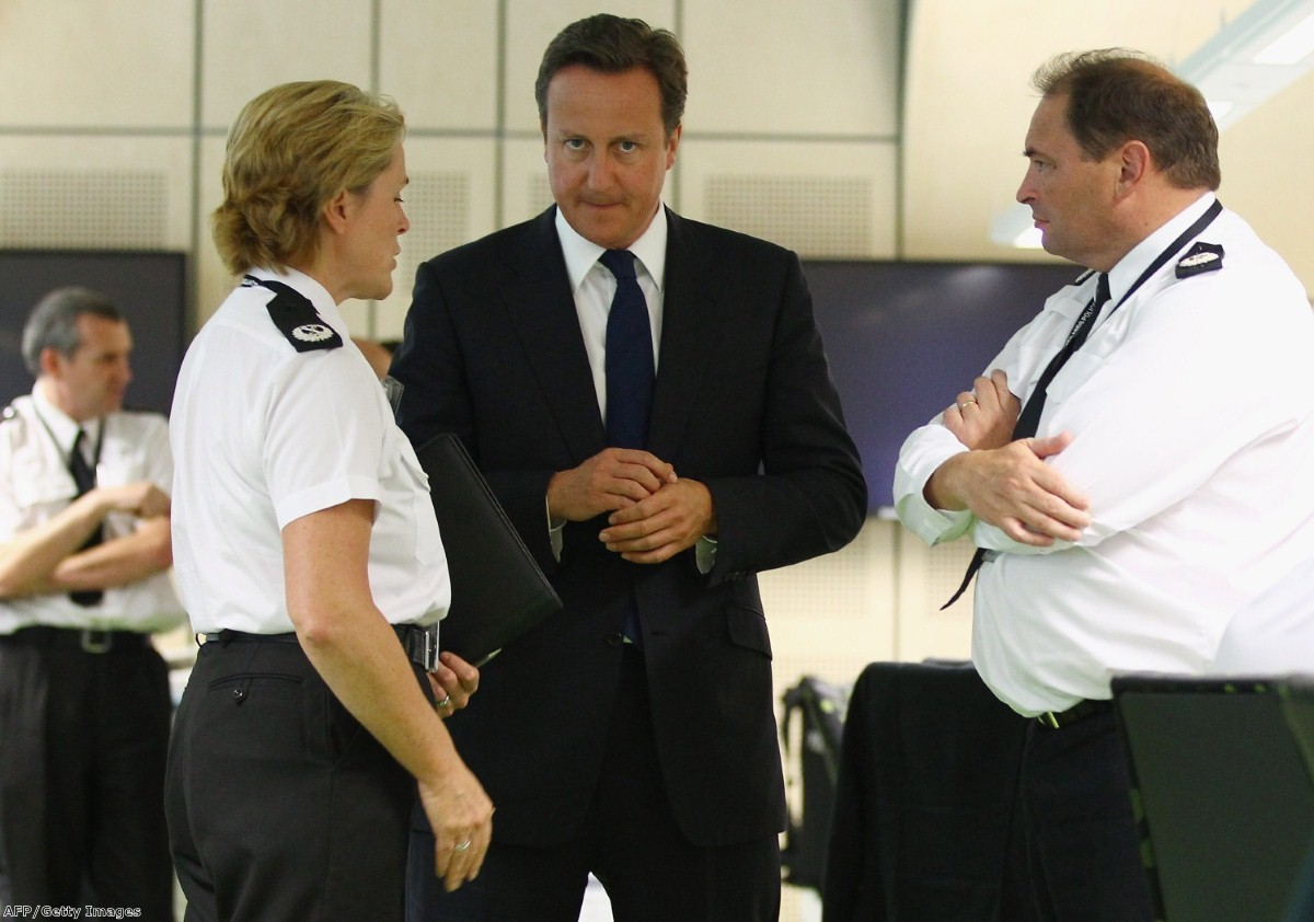 Cameron visits the west Midlands police events control room earlier this week.