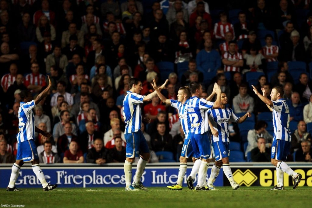 Brighton & Hove players celebrate while playing Sunderland in the Carling Cup