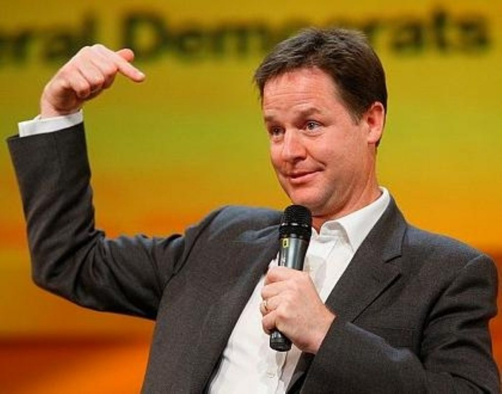 Liberal Democrat leader Nick Clegg looks uneasy during Q&A session in Birmingham.