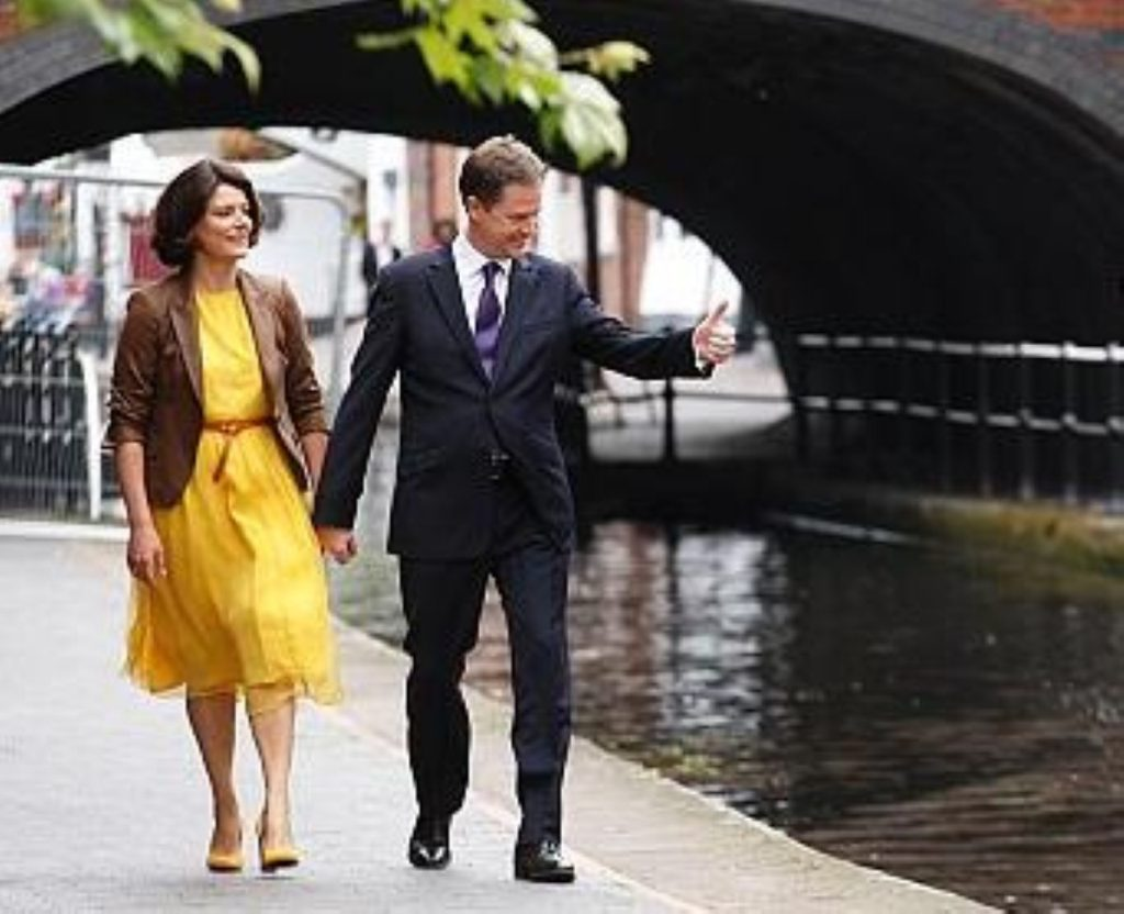 Nick Clegg with wife Miriam before his party conference speech in Birmingham