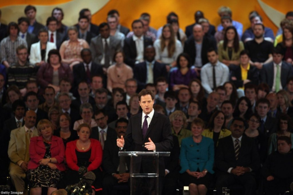 Clegg delivers his passionate speech to Liberal Democrat delegates.