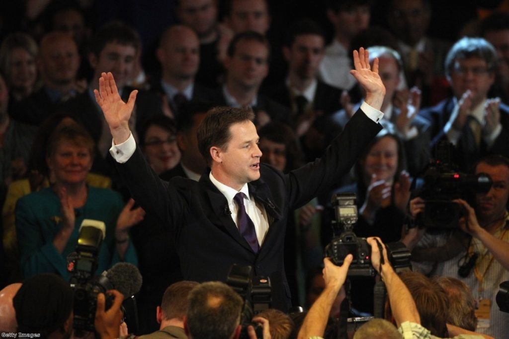 Clegg's speech was well received in the hall.