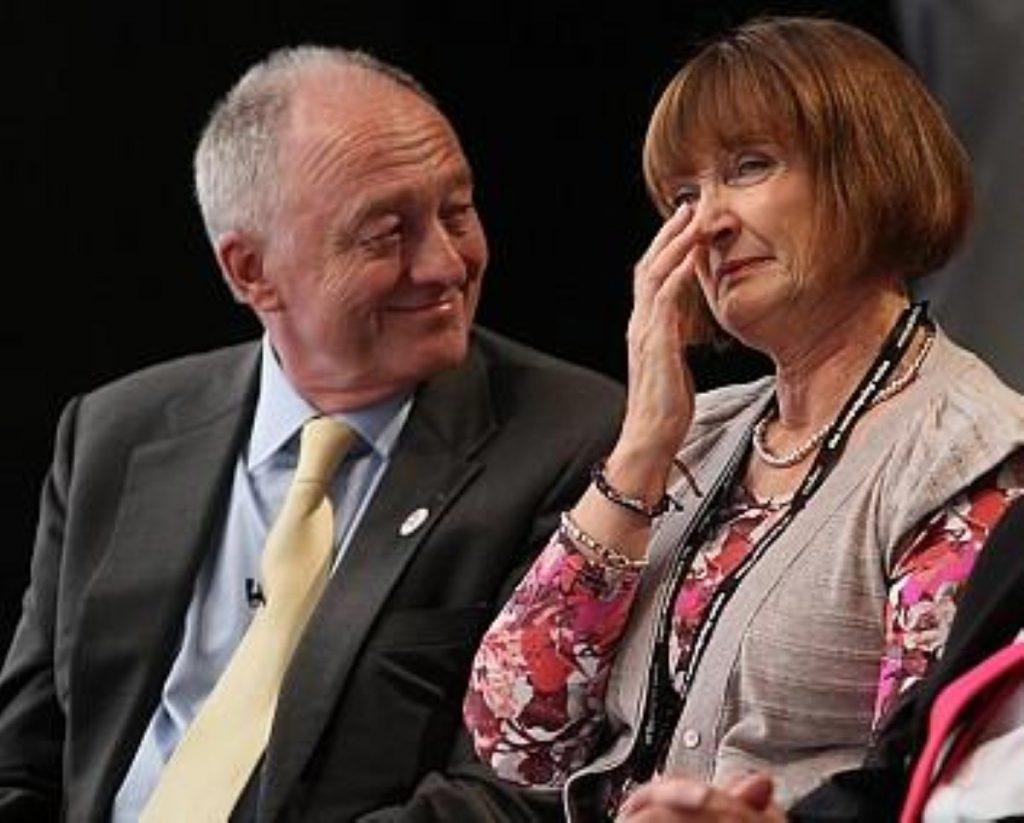 A beaming Ken with ally Tessa Jowell.