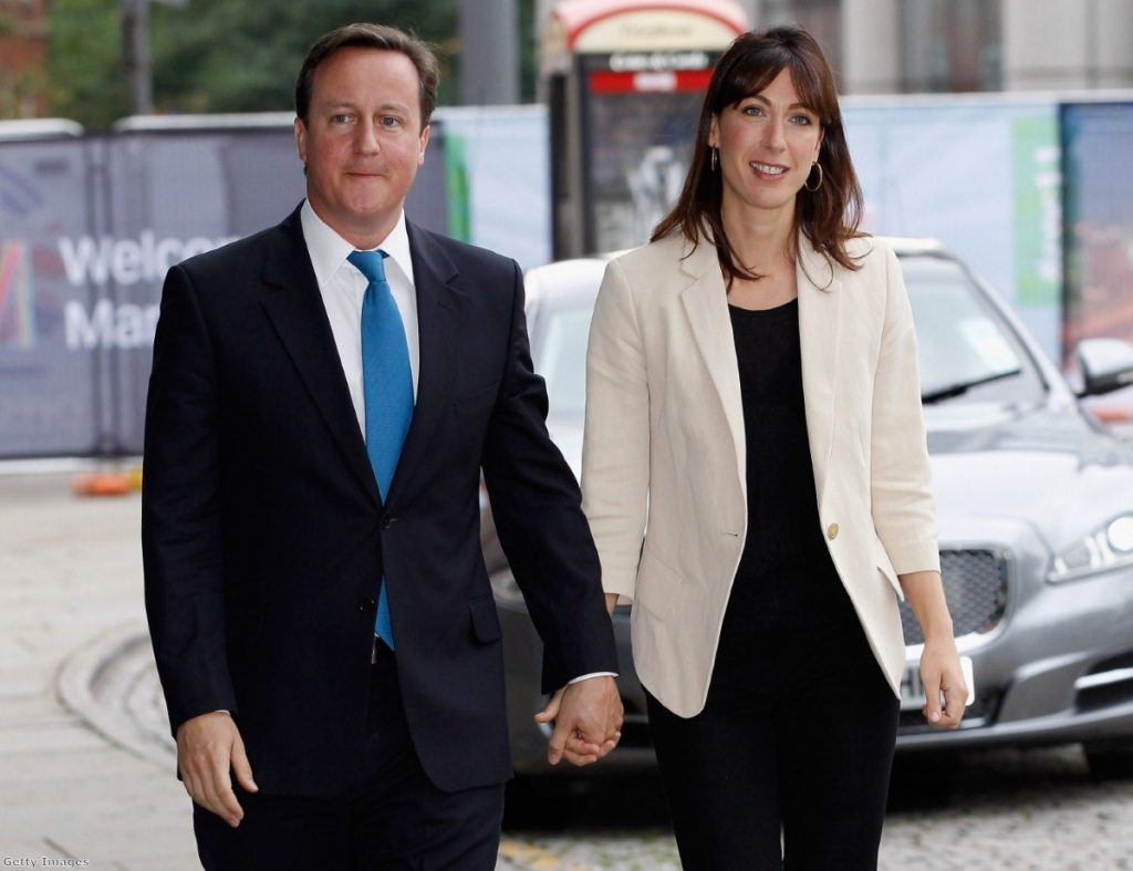 David and Samantha Cameron arrive at the Tory party conference this morning