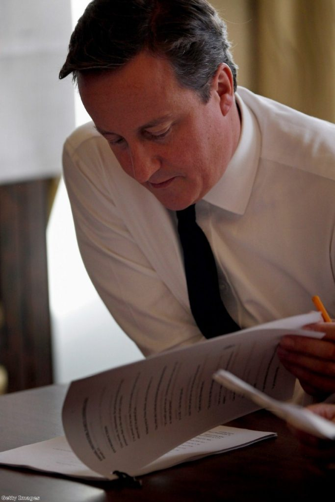 Cameron was forced to tweak a line in his speech today.