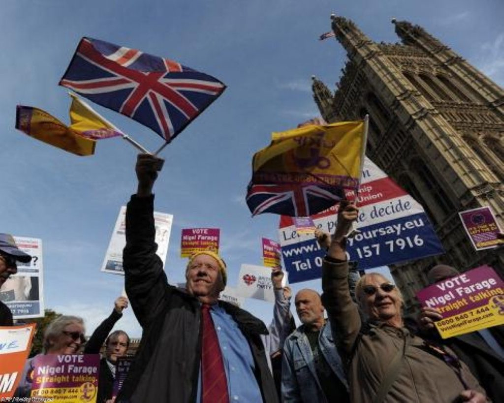 Ukip supporters rally outside parliament
