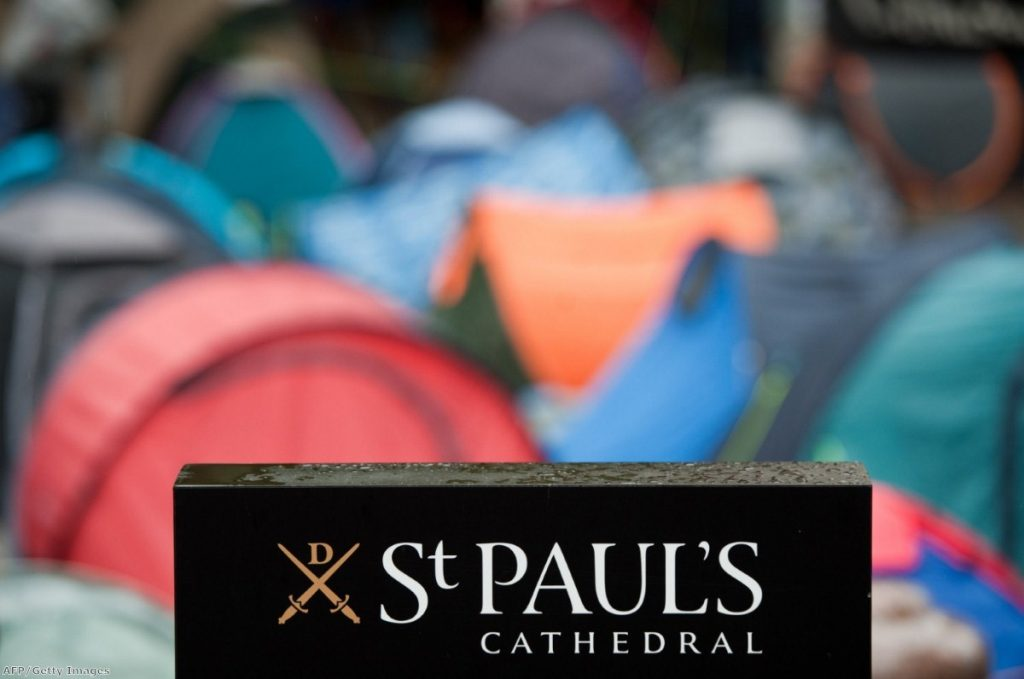Sea of tents: The St Paul's protest enjoys growing Church support.