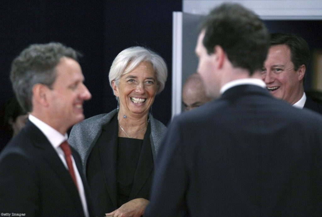 Supportive friends: George Osborne and David Cameron share a joke with Christine Lagarde, managing director of the IMF, at the G20 meeting in Nice.