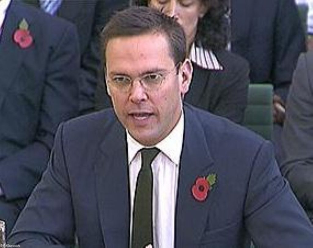 James Murdoch apologised for any surveillance when giving evidence to MPs