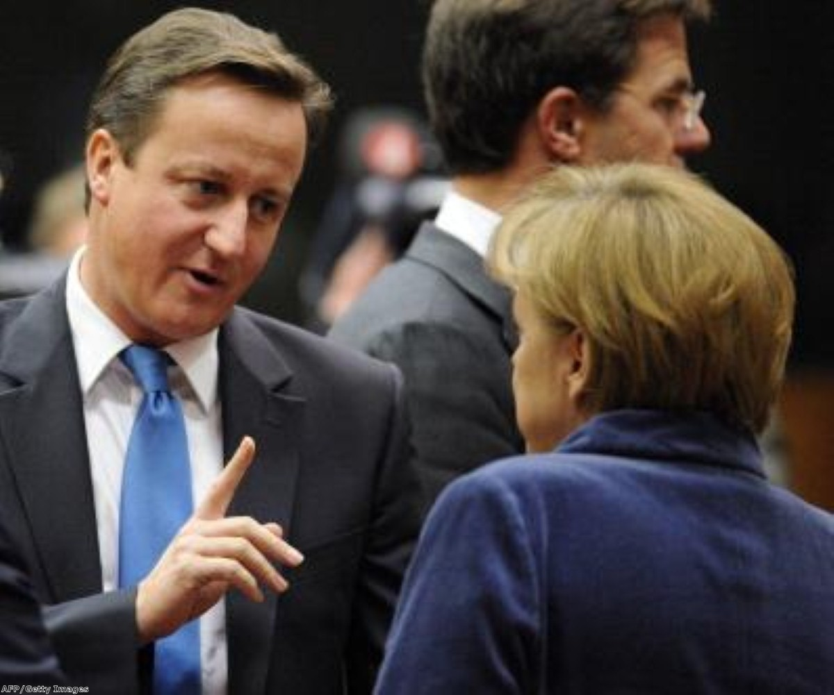 David Cameron navigates another tense moment with German chancellor Angela Merkel. Campaigners want Britain to step back from the EU.