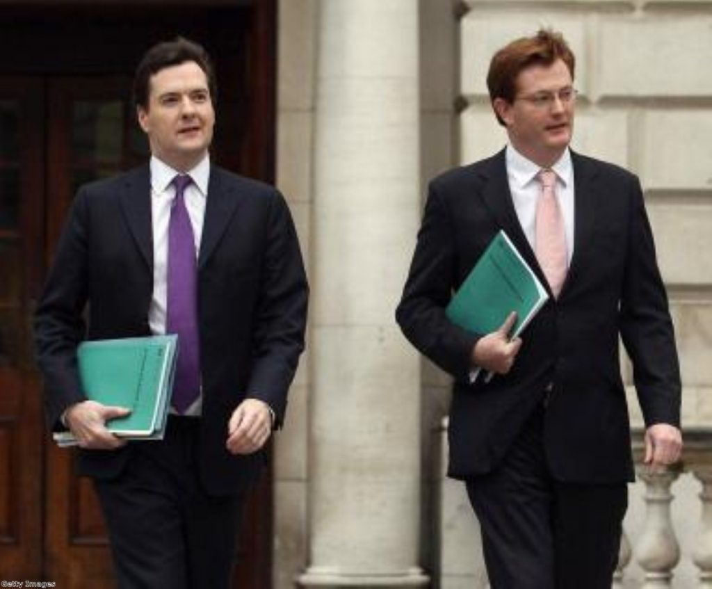 George Osborne and Danny Alexander emerge from the Treasury