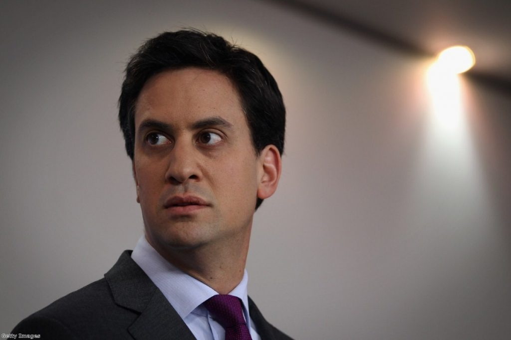 Miliband at a press conference at Labour HQ, during a previous initiative.