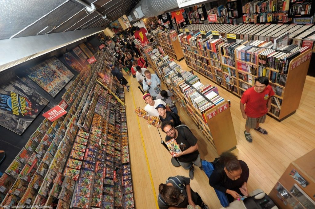 Comic book fans queue up with their books. Paul Cornell wrote Captain Britain and MI:13 between 2008 and 2009.