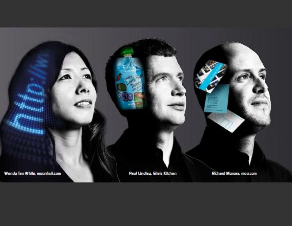 A 'business in you' campaign poster features Wendy Tan White of Moonfruit, Paul Lindley of Ella's Kitchen and Richard Moross of Moo.com