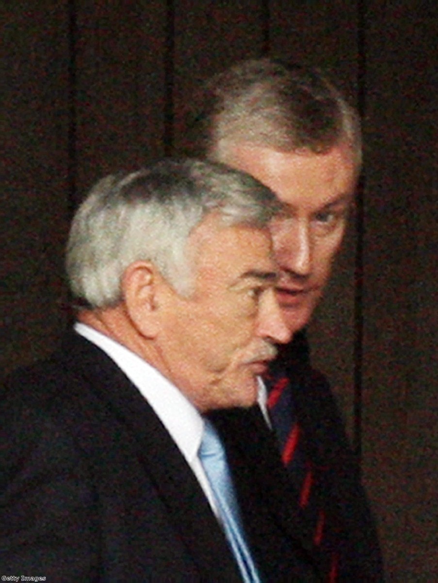 Fred Goodwin talks to Sir Tom McKillop, former RBS chairman, during an appearance in parliament. His unrepentant attitude won him few friends after the crisis.