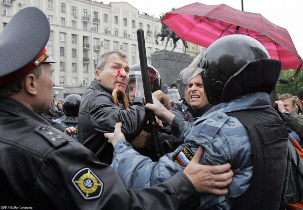 Russian police arrest Volker Beck, a German lawyer after he was beaten by opponents of a gay-pride in front of Moscow City Hall in 2006.