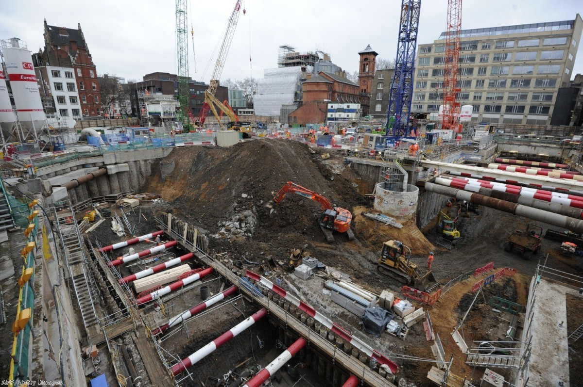A Crossrail construction site. The contract has seen blacklisting of construction workers, Unite claims