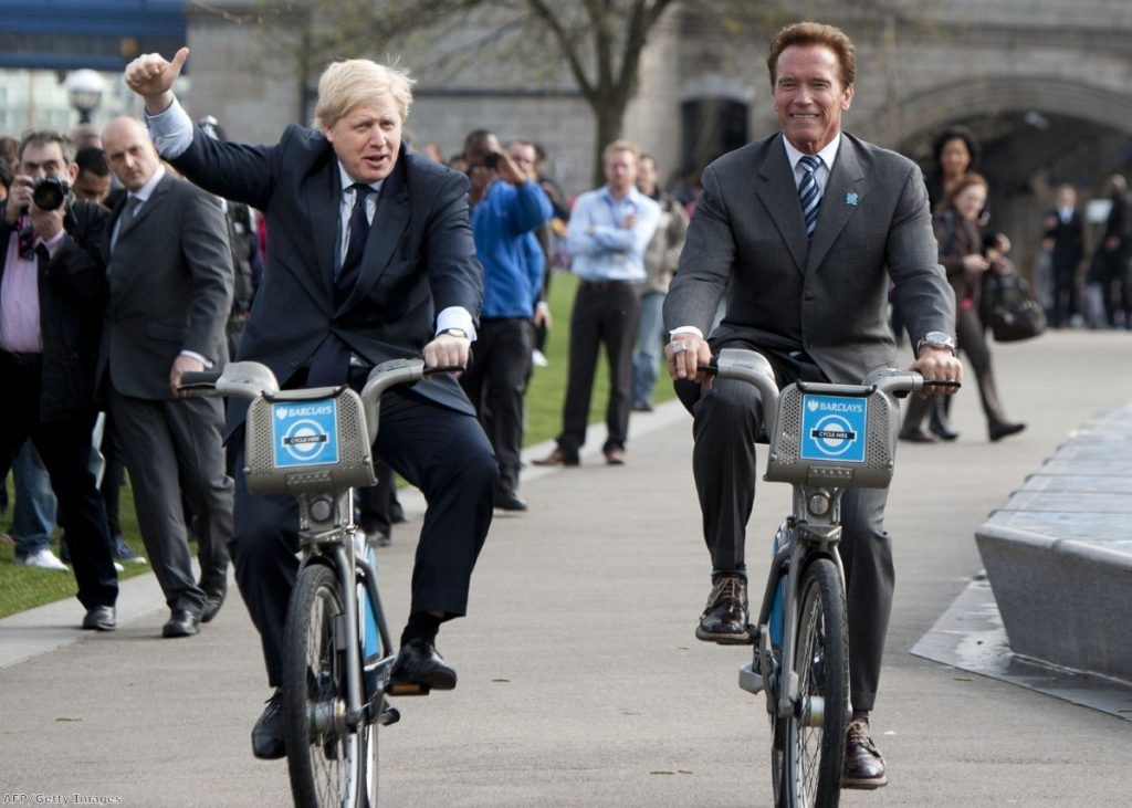 Winner Boris with Arnold Schwarzenegger during a trip last year.
