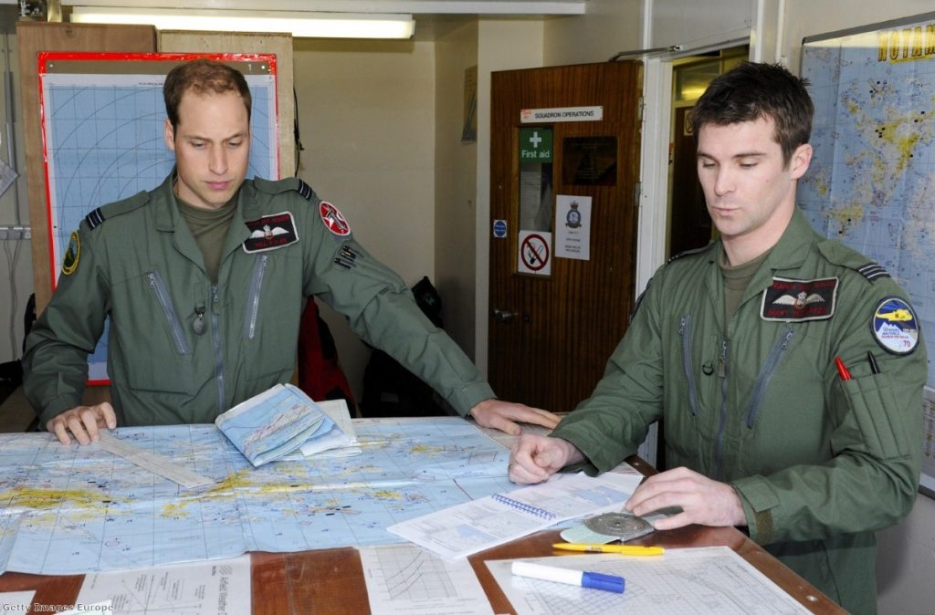 Prince William and his crew prepare for their first sortie of a six week deployment in the Mount Pleasant Complex, on the Falkland Islands.