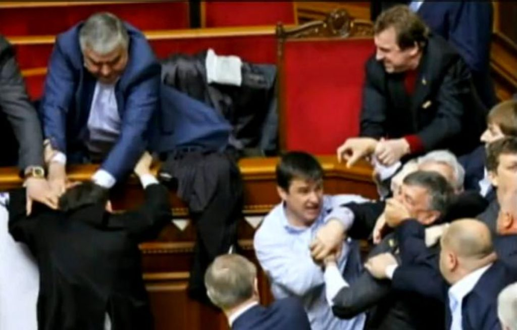 Fighting in Ukraine's parliament. You wouldn't see that sort of thing in the Commons. Or would you?